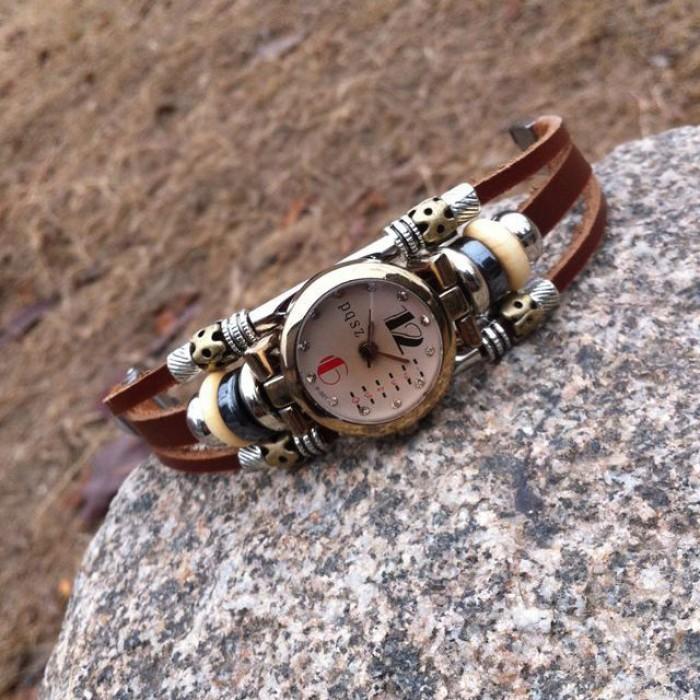 Original Retro Korn Leder Armband Uhr