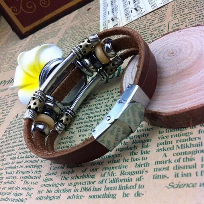 Handgemachtes Gestreift Tier Charme Leder Armband Uhr