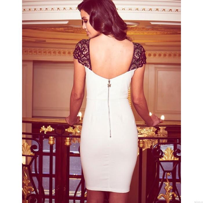 Würdevolle Reizvoller Häkelarbeit-Spitze figurbetonten Rückenfreies Kleid