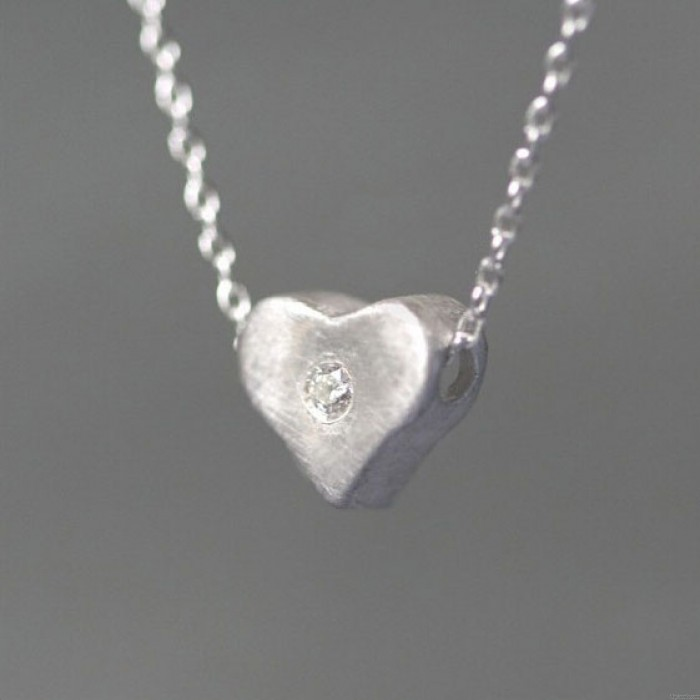 Einzigartige Herzform Strass 925 Sterling Silber Halskette