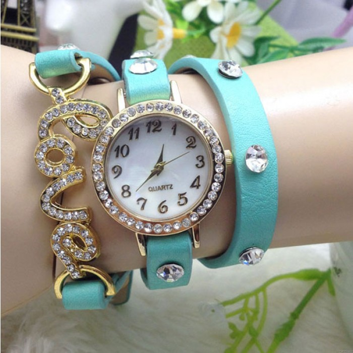 Liebe Strass verflechten Armbanduhr