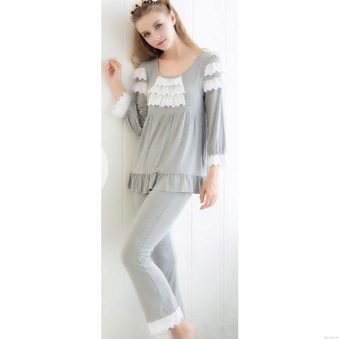 Bambus Faser Baumwolle Stickerei Lace Langarm Pyjama