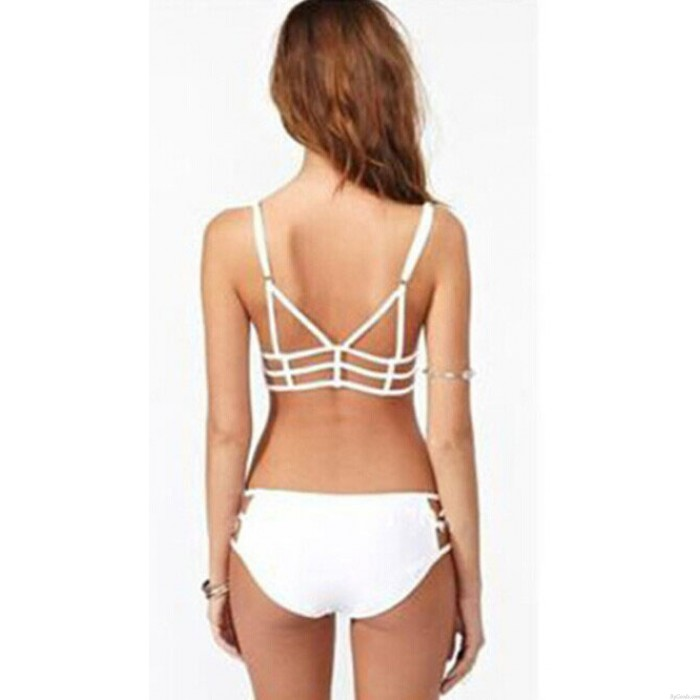Sommer Grid Mesh Strand Badeanzug Dreieck Halter Bikini