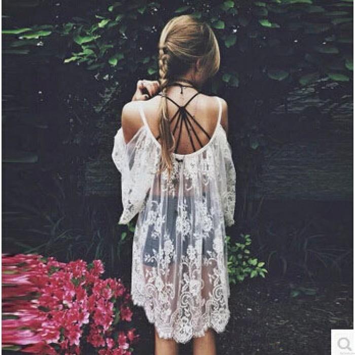 Einzigartige Reizvoller Häkelarbeit-Spitze trägerlosen Kleid