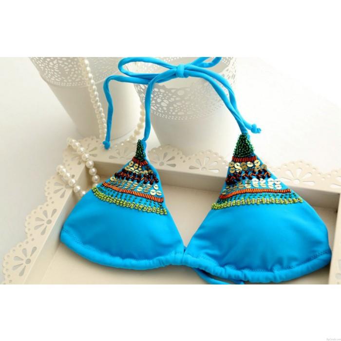 Blau Perlstickerei Schnur Bandage Halfter Badeanzüge  Bikini-Satz