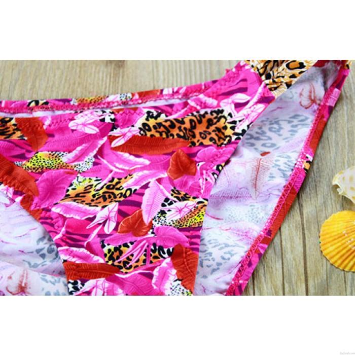 Sexy Leopard Blumendruck Bikini Badeanzug Bademode