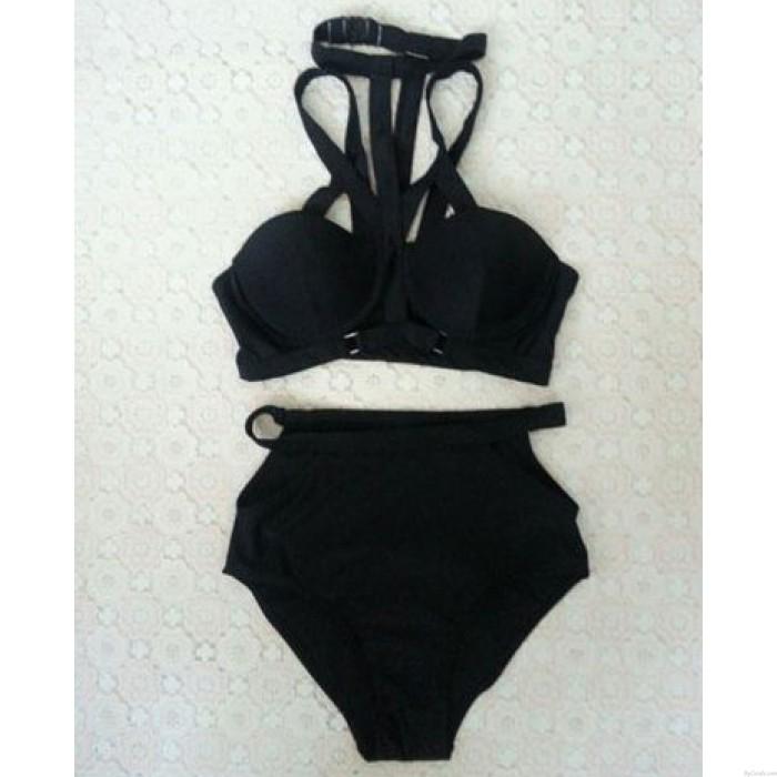 Sexy Pure Color Hohldraht Bikini Badeanzug