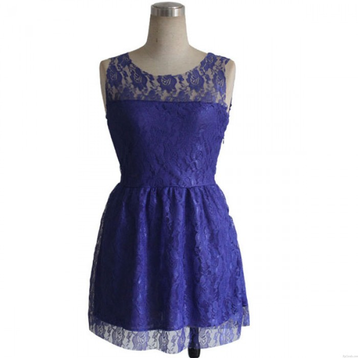 Schlank Spitze Ärmelloses Lila Partei Kleid