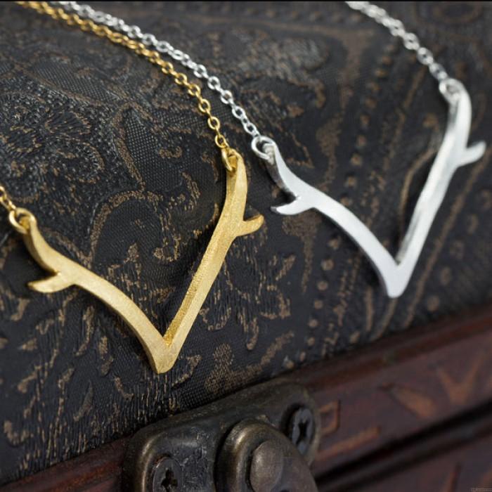 Einzigartig Silber Geweih Anhänger-Halskette