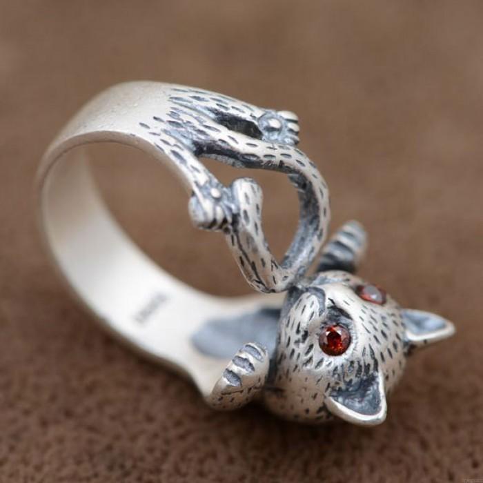 Nette Katze Tier Reinem Silber Ring