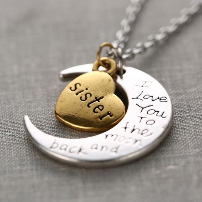 Familie Beschriftung Crescent Moon-Herz-Anhänger-Strickjacke-Halskette Ursprüngliche