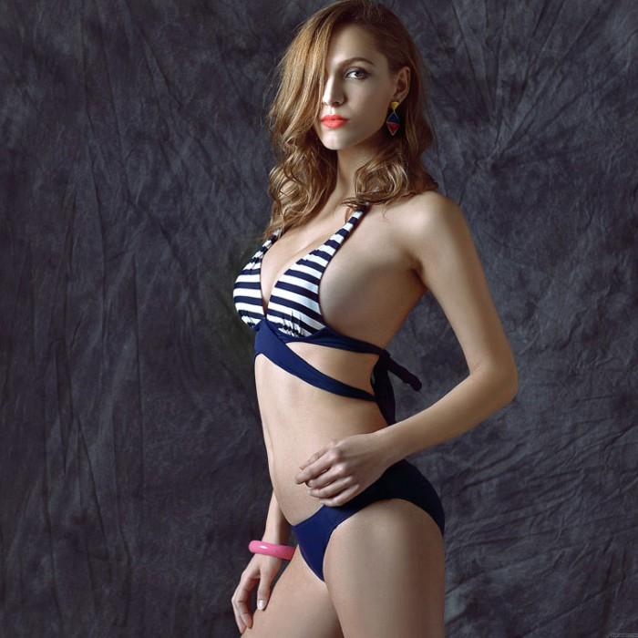 Navy Streifen Bikini Push-Up Badeanzug Bikini Badeanzug