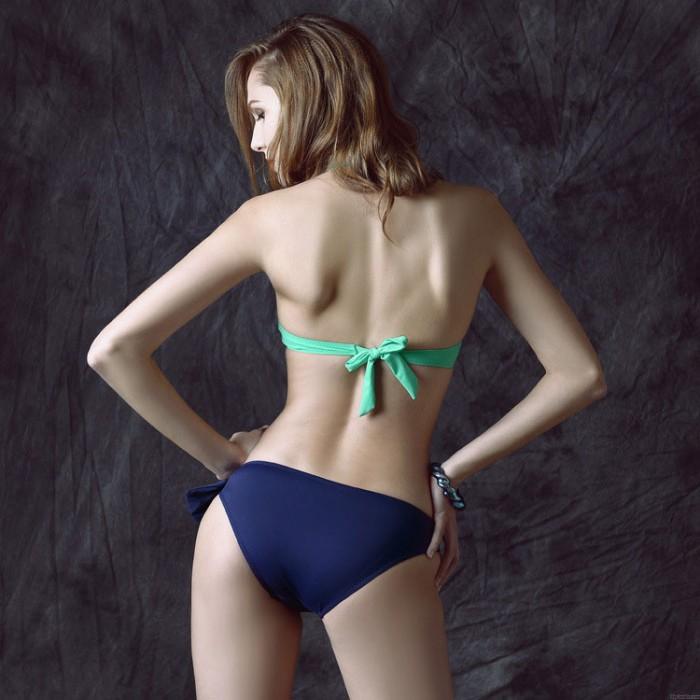 Sexy Stilvoll Hohl aus Dreieck Bikini Hochdrücken Halfter Bademode