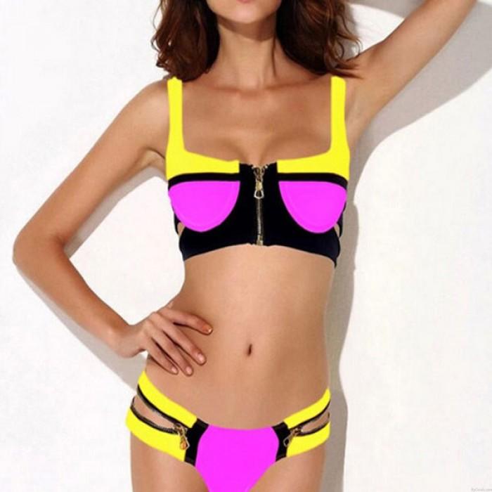 Sexy Zipper Push Up Badeanzug Bikini Bademode