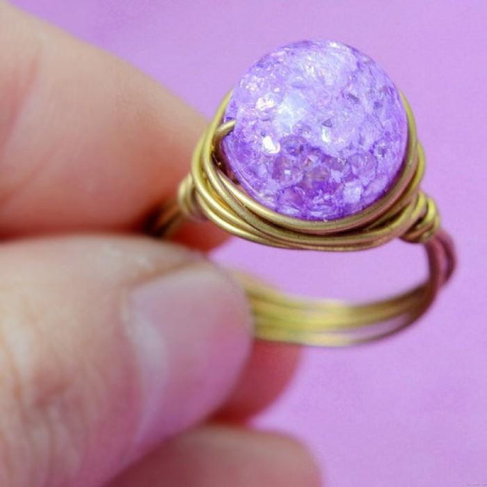 Natürliche handgemachte Braided Jelly Farbe Kristallkugel Messingringe