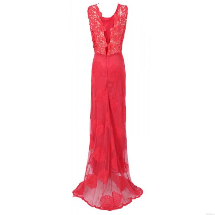 2015 würdevoller rot Spitzehalter-reizvolle Partei-Kleid