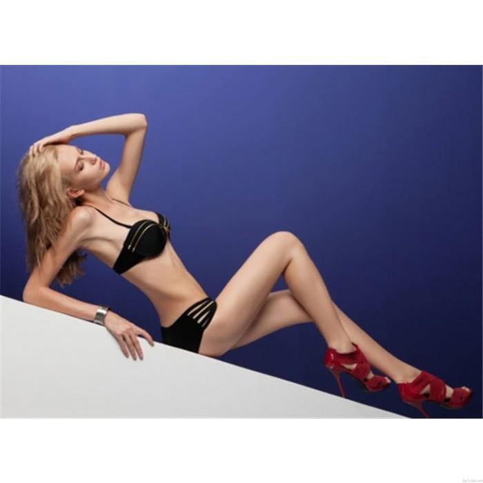 Stilvoller reizvoller Normallack-Reißverschluss gepolsterter BH-Badeanzug / Bikini