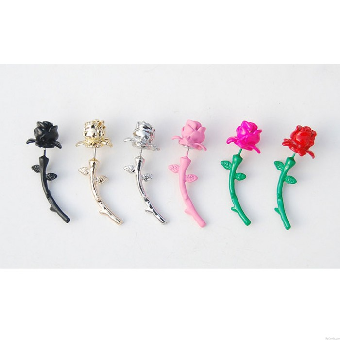 Bunte Blumen Rosen Valentine-Bolzen-Ohrringe