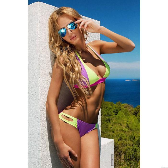 Licht Lila Licht Fluoreszierend Farben-Bikini-Verband-Bikini-gesetzte Badeanzug