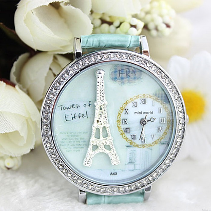 Romantische Paris Crystal Tower-Retro-Uhr aus Fimo-Cartoon-Strasssteinen