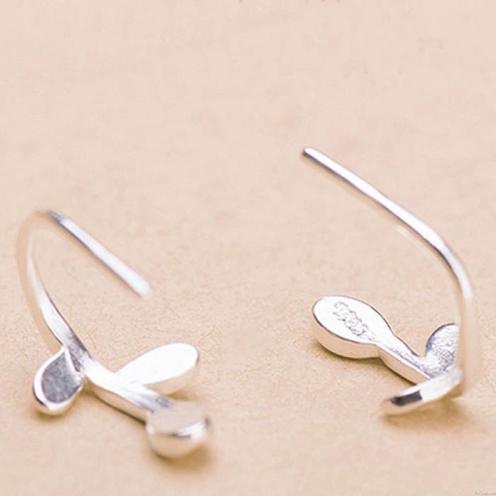 Frische 925 Silber Blätter Haken Ohrringe Original Blatt Sterling Manschette Ohrringe