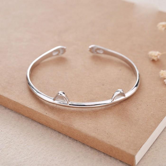 Niedliche Katze Ohr Silber offenes Armband Liebhaber vorhanden Schmuck Kätzchen Fuß Frauen Armband