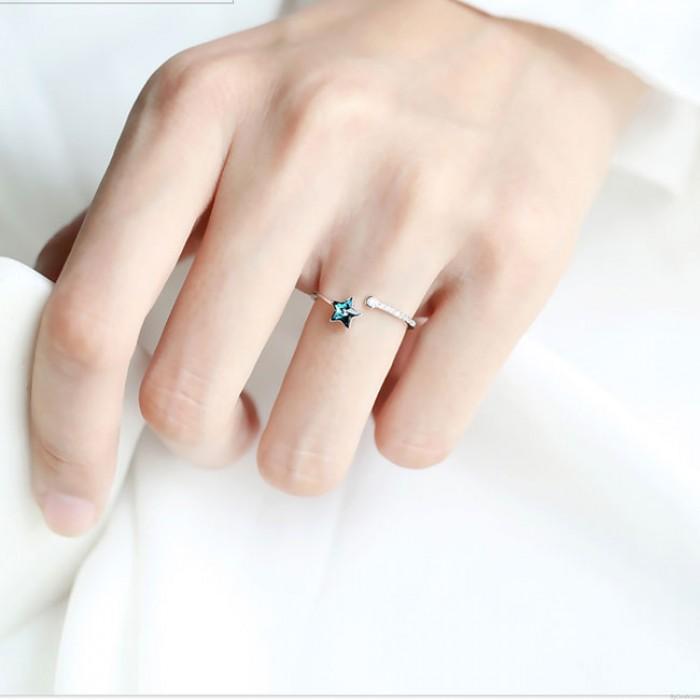 Niedlicher blauer Stern-Kristall-Silber-einfacher weiblicher offener Ring