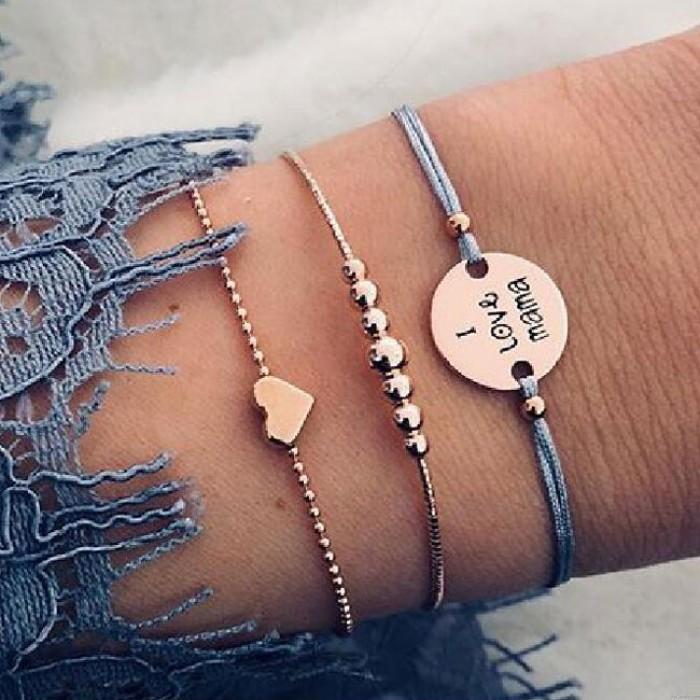 Nettes i-Liebes-Mutter-Alphabet-Liebes-Herz bördelte dreiteiliges Armband