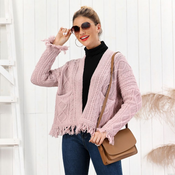 Neue Quaste lose gestrickte lange Hülse Twist Strickjacke Frauen-Strickjacke