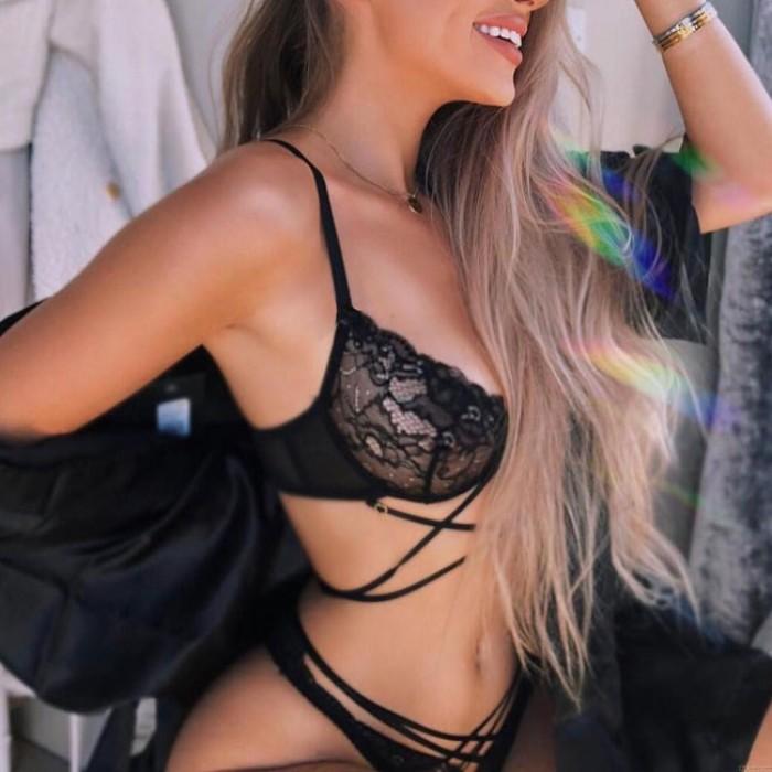 Sexy Schwarz Spitze Cross Sling BH-Set Unterwäsche Bikinis Damen Dessous
