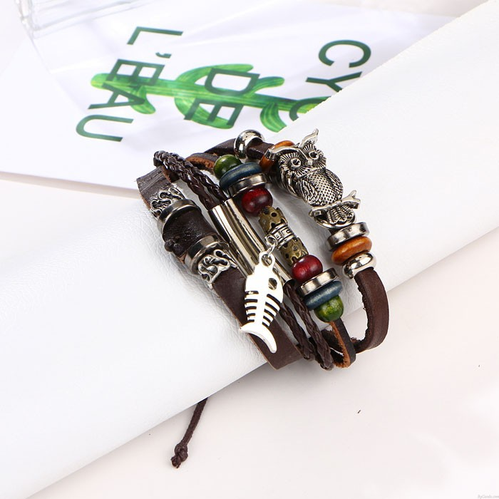 Retro Perlen Leder Multilayer-Legierung Eule Fisch gewebtes Armband