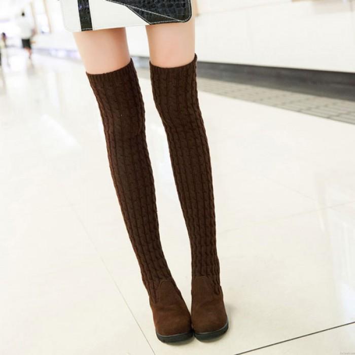 Neu Mode Gestrickt Pullover Hohe Stiefel