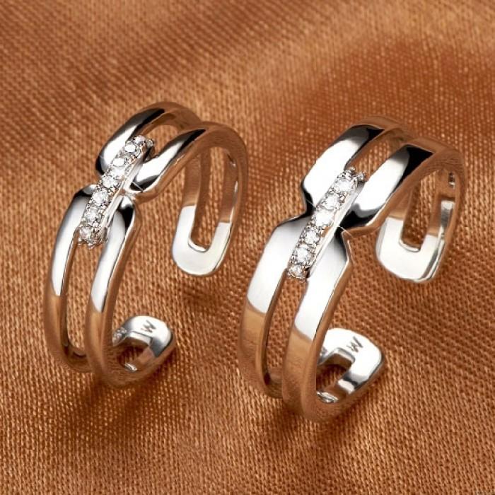 Hohlen Zirkon Silber Paar Öffnungs-Ring
