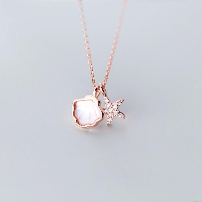 Süßer Muschelseestern Ozean-Stil Anhänger Kette Schlüsselbein 925 Silber Charm Damen Halskette