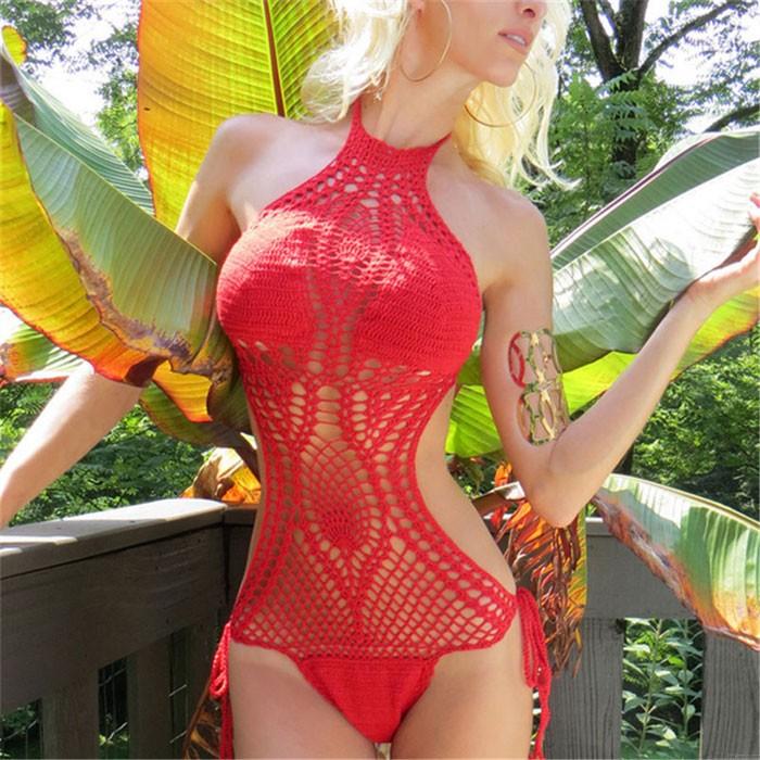 Schwimmen Anzug Handgemachtes Bikini Kintted Bademode Beachwear