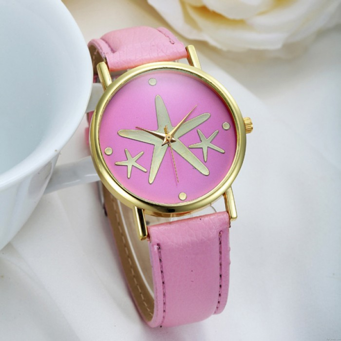 Schöne elegante Seestern Metall PU-Uhr