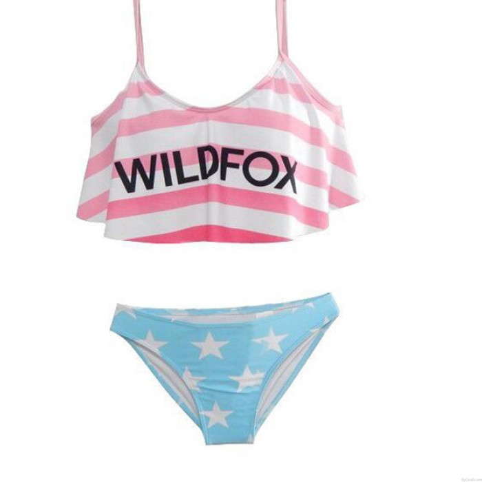 Amerikanische Flagge Buchstaben gedruckte Badeanzug Sexy Bikini Badebekleidung Badeanzug