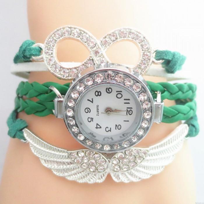 Ursprüngliche Engels Flügel Strass geflochtenes Armband Uhr