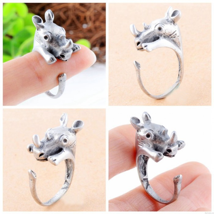 Baby Niedlich Rhinoceros förmigen Öffnungs-Ring-Legierungs-Ring