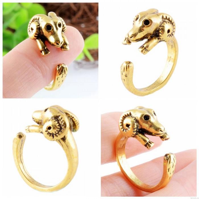 Biegewinkel Goat Tiere Öffnen Einstellbare Verpackungs-Ring-Weinlese-Golden Ring
