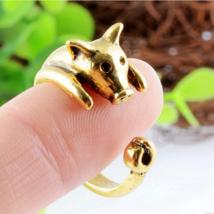 Super süß Goldene Piggy Einstellbare Tiere Öffnungs-Ring