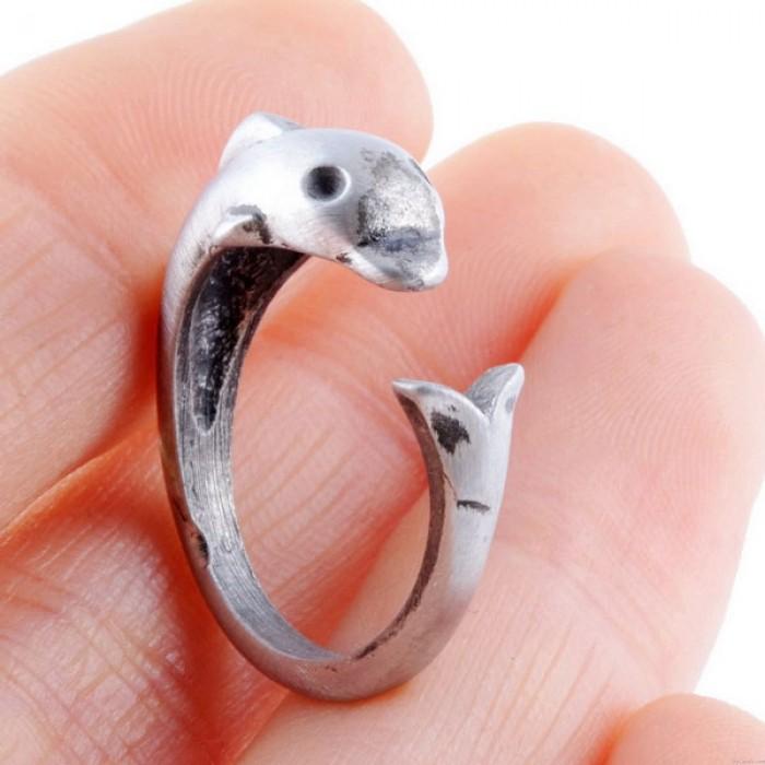 Reizende nette Dolphin Antike Weinlese-Silber Tiere Öffnungs-Ring