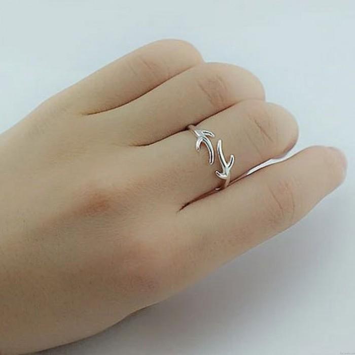Silber Angle Elk Antlers Minimalismus einstellbare Öffnungs-Ring