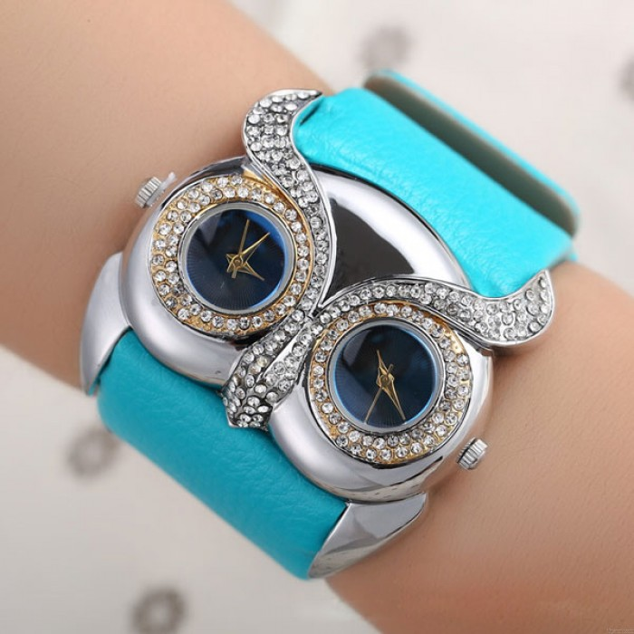 Nette Eulen-Einlegearbeit-Diamant Doppel Dial Augen beobachten