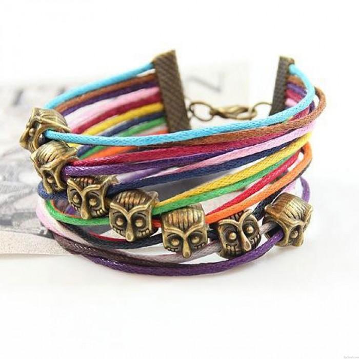 Einzigartige Eule bunte Seil Armband