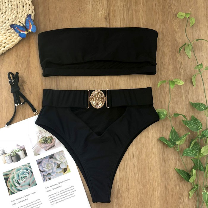 Sexy Metallknopf Bandeau Bandage Sommer Badeanzug Schwarz Weiß Mix Farbe Bikini