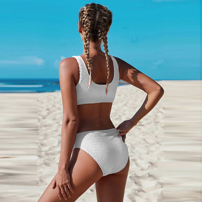 Sexy Pure Farbe Einfacher Bikini Falten Sommer Badeanzug