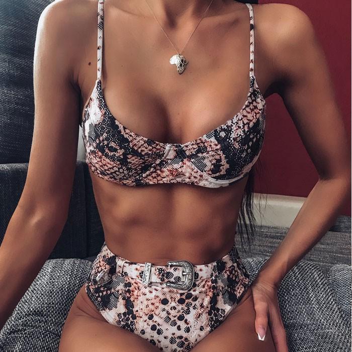 Sexy Leopard Grün Schlinge Hohe Taille Sommer Badeanzug Stahl Prop Schnalle Bikini