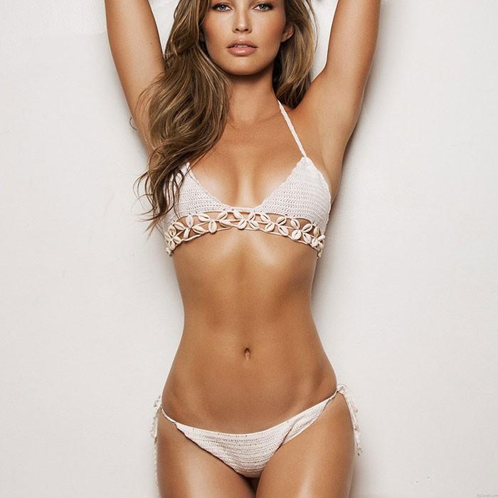 Frau Gestrickt Quaste Bademode Bikini Handgemachtes Schale Beachwear