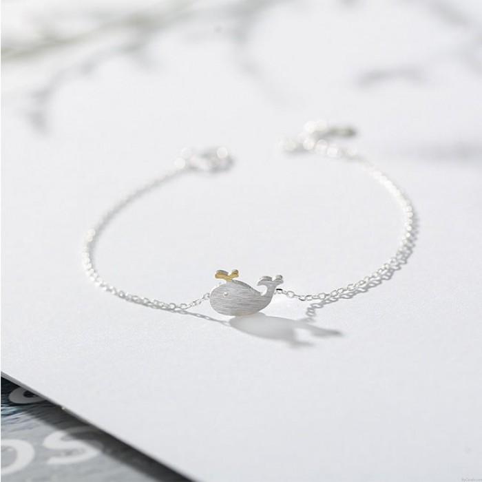 Nettes Delphin-Liebes-Zeichen-romantische Freundin-Geschenk-Frauen-Armband-kleiner Wal-Silber-Armband